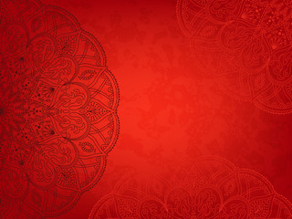 Horizontal red background with oriental round pattern and texture of old paper. Vector illustration.