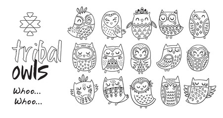 Outline hand drawn tribal owl vector set