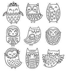 Vector collection of hand drawn owls in tribal style