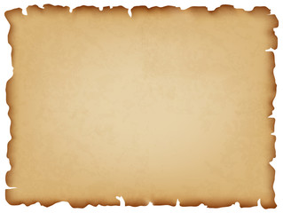 Old paper background. Horizontal textured background. Manuscript with charred edges. Vector illustration.