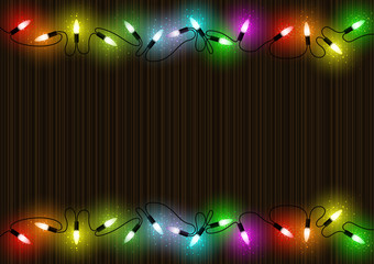 Colorful Glowing Christmas Lights over Mahogany Background with Colored Light Dust Effect - Abstract Illustration, Vector