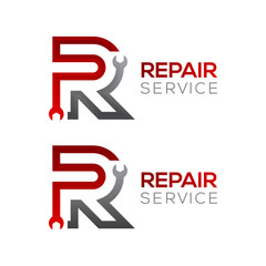 Letter R with wrench logo,Industrial,repair,tools,service and maintenance logo for corporate identity
