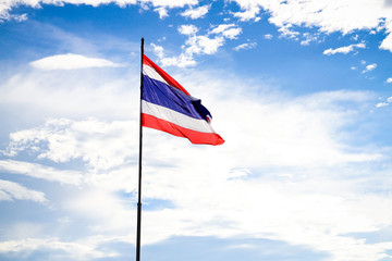 Thailand flag waving in the wind with blue sky background