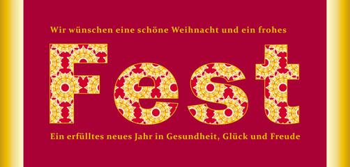 Frohes Fest: Weihnachts- und Neujahrswünsche in Rot und Gold