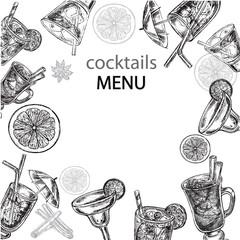 hand drawn cockteils menu