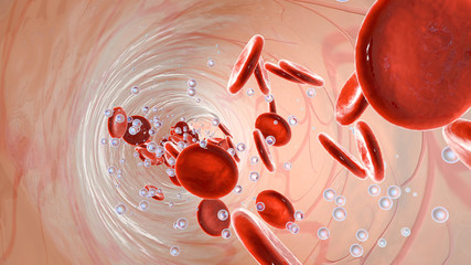 Oxygen molecules and Erythrocytes floating in the blood stream