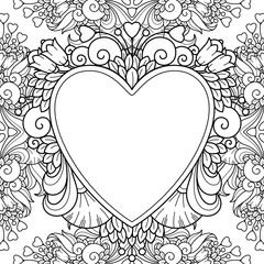 Decorative love frame with hearts