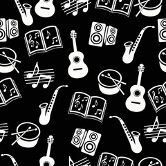Musical vector background, music accessories seamless pattern. Silhouette drawing black and white guitar, drum, saxophone, loudspeakers, notes   books a dark . Monochrome illustration