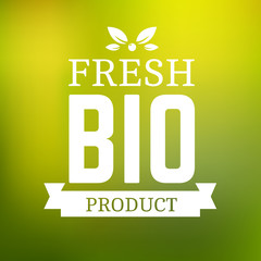 Fresh bio product logotype. Logo template vintage element in green color for restaurant menu or food package. Organic product badge. Vector label in EPS10.