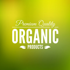 Premium quality organic logo. Logotype template vintage elements in white color for restaurant menu, identity or food packaging. Organic product badge. Flat vector label.