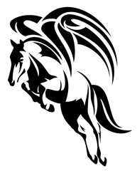 pegasus horse black and white vector design
