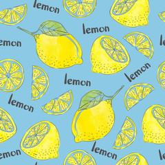 Lemons seamless pattern. Vector watercolor citrus background.
