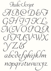 Italic Script Alphabet Capitals and Small letters. Decorative letters to use for titles drop caps etc.