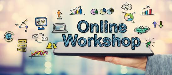 Online Workshop concept with man holding tablet
