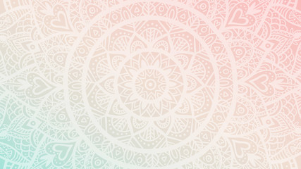 Wall Murals Boho Style Dreamy gradient wallpaper with mandala pattern. Vector background for yoga, meditation poster.