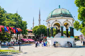 Drinking fountain near the Sultan Ahmed Mosque (Blue Mosque) in Istanbul, Turkey