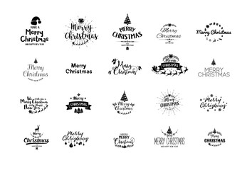 Merry Christmas lettering typography. Handwriting text design wi