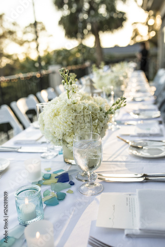 Table Set Up For Outdoor Sunset Reception