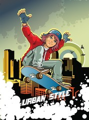 boy riding on a skateboard