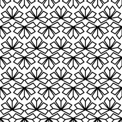 Black white texture vector. Modern Chinese geometric flower pattern. Oriental fan motif. Abstract floral monochrome background for fabric, web design or wrapping paper.