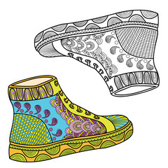 Women's shoes with a beautiful pattern. Sport shoes. Sneakers. Hands sketch doodle element. Printing on T-shirts, banners, posters, cover. Coloring page book for adults and children.