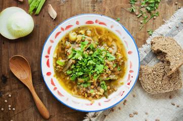 Lentil soup with onion. Top view