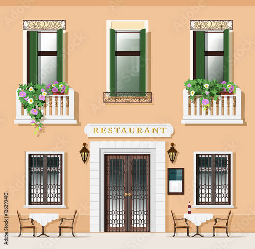 Vintage Style Restaurant Facade Old Fashioned Cafe With Tables And Chairs European Street