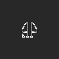United AP logo letters together thin line monogram, coupled capital initials A and P associated emblem