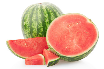 Watermelon group with section and slices on white, clipping path