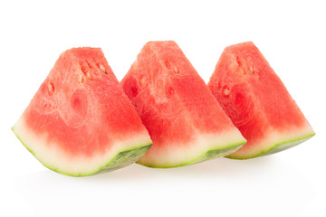 Three watermelon slices isolated on white, clipping path