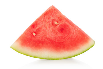Watermelon triangular slice isolated on white, clipping path