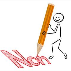 """NEIN! Strichmännchen schriebt """"Non"""" auf Französisch"""