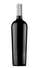 3d illustration black wine bottle with silver cap