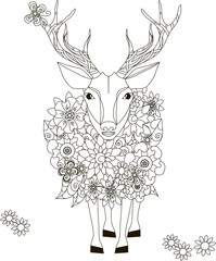 Flowers deer, coloring page anti-stress vector illustration
