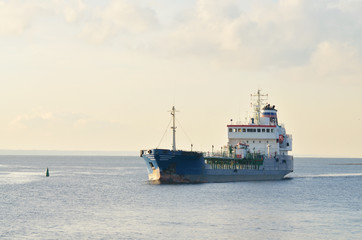 ship sails on the sea.