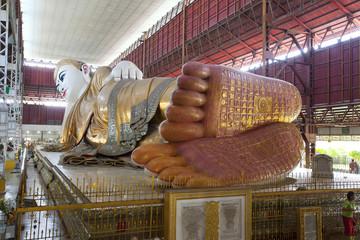 The giant reclining Buddha at Chaukhtatgyi temple in Yangon, Myanmar.