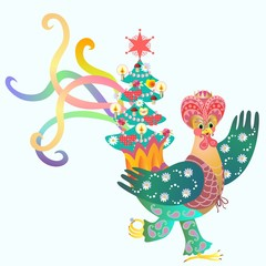 Magus - rooster and Christmas tree. Fairy tale.