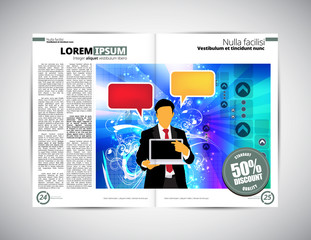Layout magazine with business illustration, vector