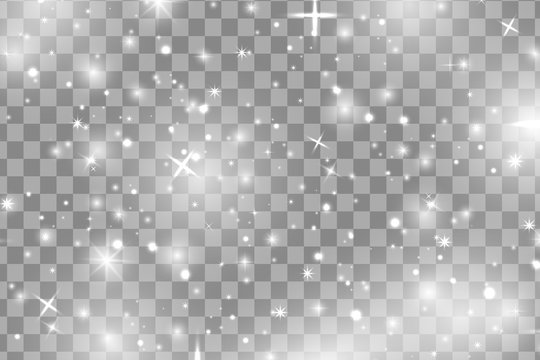 White sparks and white stars glitter special light effect. Vector sparkles on transparent background. Christmas abstract pattern. Sparkling magic dust particles