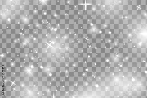White sparks and white stars glitter special light effect  Vector