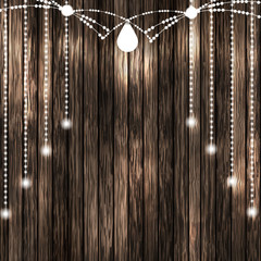 Set of Glowing White String Christmas Lights for Xmas Holiday Greeting Cards Design. Wooden Hand Drawn Background. Light Bulbs Collection.