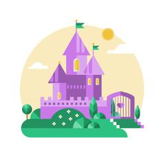 Purple castle. Vector flat illustration.