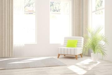 White modern room. Scandinavian interior design. 3D illustration