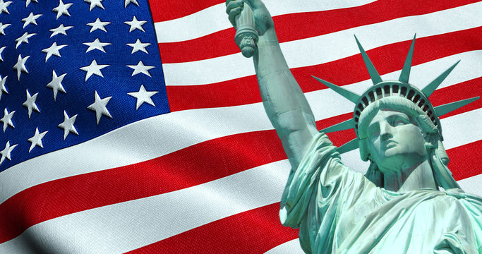 Statue of Liberty of American USA with waving flag in background, united states of america, stars and stripes