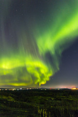 Polar lights.Bright Northern lights in the night sky