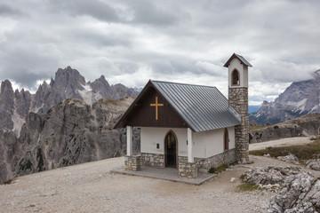 Mountain chapel near Tre Cime di Lavaredo in Dolomites Alps
