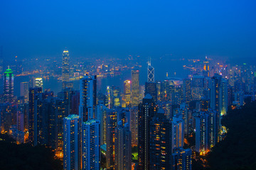 Hong Kong Island and Kowloon view from Peak