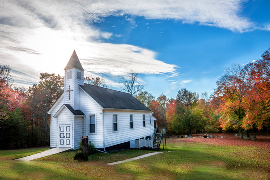 Small Wooden Church in the countryside during Autumn