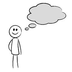 Vektor: Person denkt nach - Denkblase | 240 x 240 jpeg 6kB