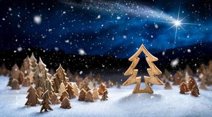 Wall Mural - Landschaft aus Holzdekoration im Schnee, fantasievolle Szene für Weihnachten und Winter